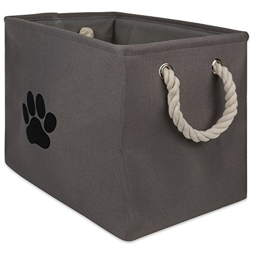 Bone Dry DII Small Rectangle Pet Toy and Accessory Storage Bin, 14x8x9, Collapsible Organizer Storage Basket for Home Dcor, Pet Toy, Blankets, Leashes and Food-Gray Paw Print
