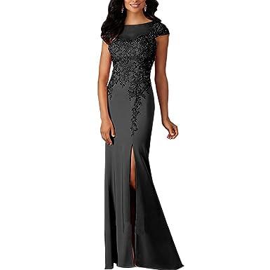0e904c6490d Chady 2019 High Split Black Lace Mermaid Prom Dresses 2018 Crew Neck Cap  Sleeves Evening Dress
