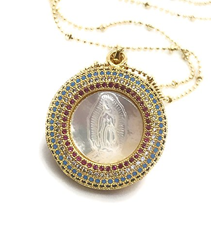 LESLIE BOULES Our Lady of Guadalupe Unique Mother of Pearl Pendant Necklace 18
