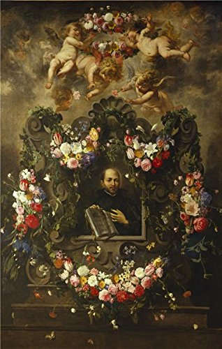 Oil Painting 'Saint Ignatius Surrounded By A Garland Of Flowers By Daniel Seghers,1643', 24 x 38 inch / 61 x 96 cm , on High Definition HD canvas prints, Gym, (Spirit Halloween Costume Coupon)