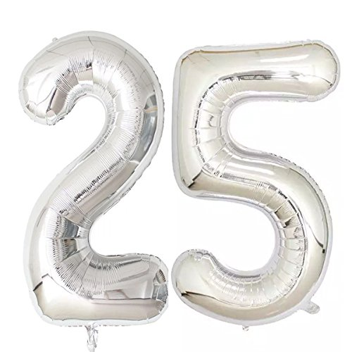 40inch Silver Foil 25 Helium Jumbo Digital Number Balloons, 25th Birthday Decoration for Girls or Boys,25 Birthday Party Supplies -