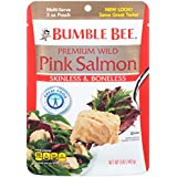 BUMBLE BEE Premium Skinless and Boneless Wild Pink Salmon, Ready to Eat Salmon Pouch, High Protein Food, Keto, Gluten Free, High Protein Snack, Canned Food, Bulk Salmon, 5 Ounce Pouches (Pack of 12)