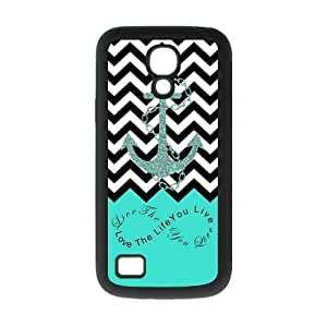 Live The Life You Love,Love The Life You Live.Black White Chevron & Anchor Infinity Symbol Personalize Custom Samsung Galaxy S4 MINI Best Rubber & Plastic Case