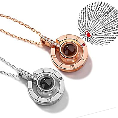 ce32f27ca9 Evaky Women Pendant Rose Gold Necklace Projection 100 Languages of I Love  You Necklaces, Gift for Lovers (Silver): Amazon.co.uk: Jewellery
