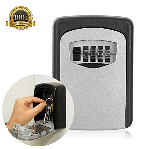 Key Lock Box, Key Storage Lock Box 4 Digit Combination Wall Mounted Weather Resistant Steel for Indoors or Outdoors Holds up to 5 Keys