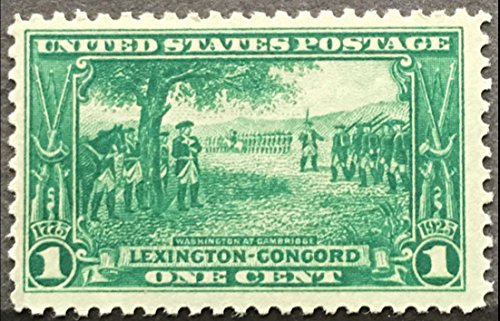 Postage Stamps United States. One Single 1 Cent Deep Green Washington At Cambridge, Lexington-Concord Issue Stamp Dated 1925, Scott #617. ()