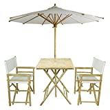 Cheap Zew 4-Piece Bamboo Outdoor Backyard Patio Set with Square Table, 2 Folding Canvas Chairs and Umbrella, White