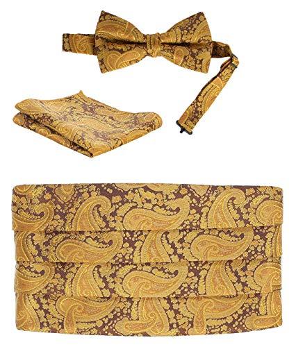Gioberti Kids/Boys' Adjustable Paisley Cummerbund Set With Formal Bow Tie and Pocket Square, Gold