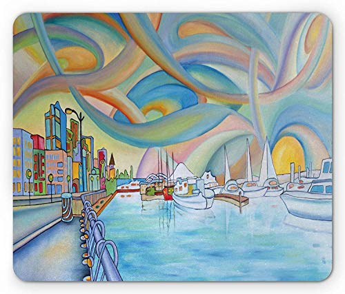 Seattle Mouse Pad, Abstract Waterfront Pattern Colorful Port