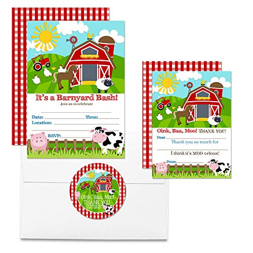 Deluxe Barnyard Bash Birthday Party Bundle, Includes 20 Each of 5