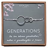 Generations Bracelet for Grandma Sterling Silver 3 Interlocking Infinity Circles for Mom & Granddaughter Mothers Day Jewelry Gift