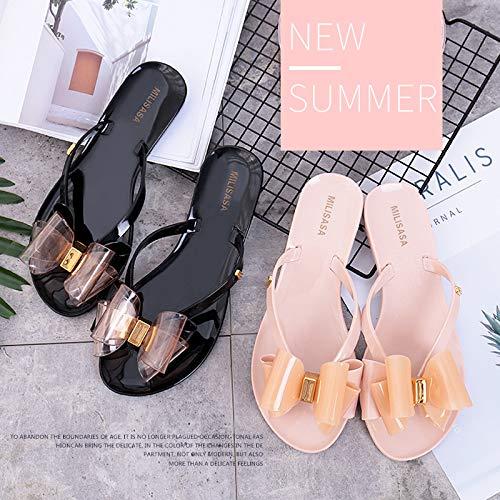 de d'été EU Taille Flat 37 Noir Chaussures Femmes Slip Bowknot sur Fuxitoggo Flip Les Plage Noir coloré Flops ZgwPxWqz