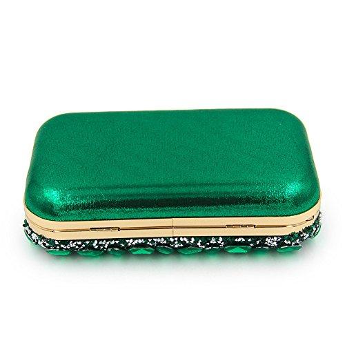 Women Chain Clutch Rhinestone Party Handbag Bags Dress Wedding Green Evening Shoulder MGH YOpA5qwdHY