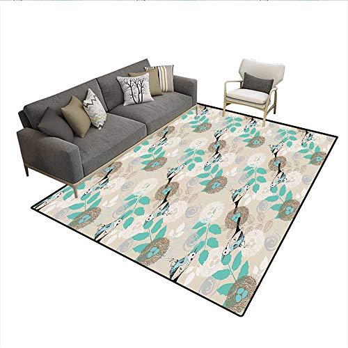 Carpet,Romantic Bird Pattern with Nest and Eggs Parental Love Themed Illustration,Print Area Rug,Beige Seafoam Black 6'x7'