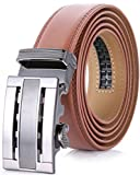 """Marino Men's Genuine Leather Ratchet Dress Belt With Automatic Buckle, Enclosed in an Elegant Gift Box - Light Tan - Fits waist sizes up to 54"""""""