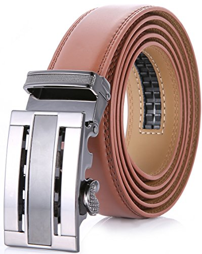 Marino Men's Genuine Leather Ratchet Dress Belt With Automatic Buckle, Enclosed in an Elegant Gift Box - Light Tan - Adjustable from 38