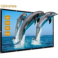 Projector Screen, GBTIGER 120 inch 16:9 Portable Foldable Outdoor Movie Screen for Home Cinema Theate Movies, Business Presentation, Education Training, Outdoor Indoor Public Display etc.