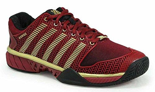 K-Swiss 05066 Hypercourt Express 50TH Tennis Sneaker Shoe - Black/Biking Red/Gold - Mens - 10