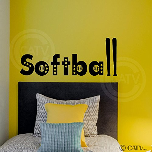 Lettering Sticker Decal Wall (Softball Vinyl Lettering Wall Decal Sticker (Black, 10