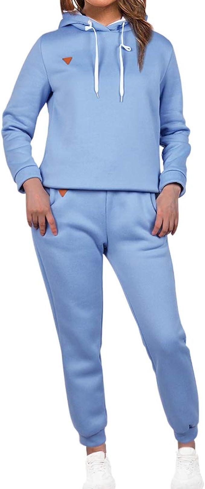 Loozykit tuta da donna tuta da ginnastica 2 pezzi pantaloni lunghi in pile jogging per il tempo libero con calda imbottitura e felpa con cappuccio