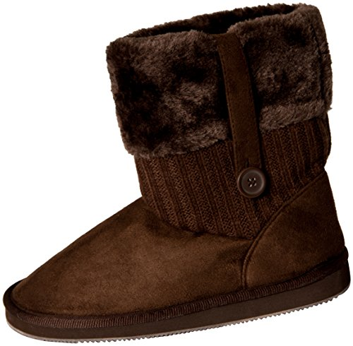 Brown Faux Fur Boots (Star Bay Women's Faux Fur Cuff Sweater Shearling Boots Brown)