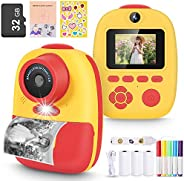 Magicfun Instant Print Camera for Kids, Zero Ink Camera with Paper Films, Cartoon Sticker and Color Pencils, 3