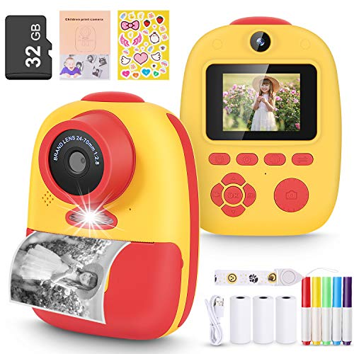 Magicfun Instant Print Camera for Kids, Zero Ink Camera with Paper Films, Cartoon Sticker and Color Pencils, 32GB Memory…