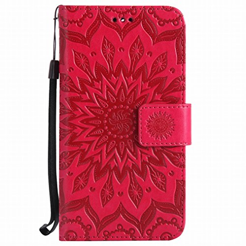 LEMORRY Huawei Y6 Pro / Honor Play 5X / Enjoy 5 Hülle Tasche Ledertasche Beutel Haut Schutz Magnetisch SchutzHülle Weich Silikon Cover Schale für Huawei Y6 Pro, Blühen Violett Rot