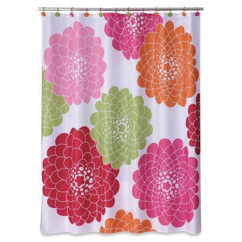Allure Home Creations Stella Pink Printed on Poly Pique Shower Curtain