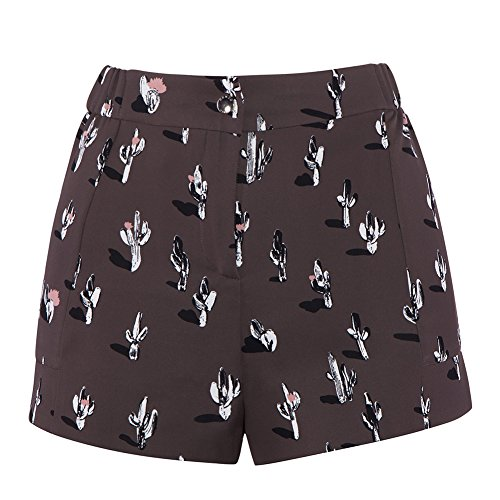 Kenzo Women's Cartoon Cactus Printed Shorts F652SH03354F-98 Anthracite, 34 (FR) / 2 (US) by Kenzo