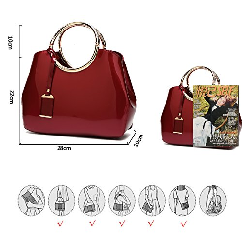 Leather Bag Patent Dating Shoulder Handbag patying Lady's Working Designed Women's Coolives Elegantly Wine Red for Fashion Bag qEwpBn