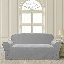 Comfy Bedding Microsuede Sofa Furniture Slipcover with Elastic Straps under Seat Cushion (Sofa, Light Grey)
