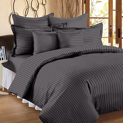 Ahmedabad Cotton Premium Sateen Striped Double Bedsheet with 2 Pillow Covers