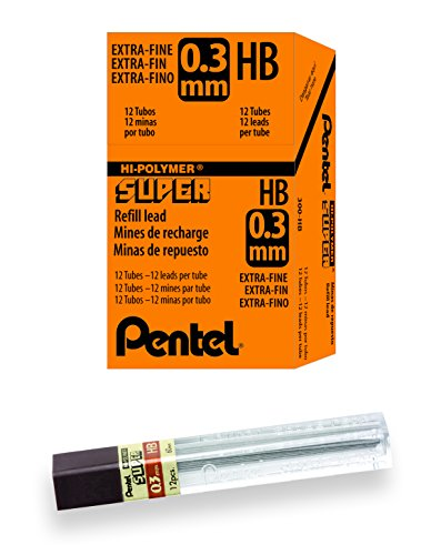 Pentel Super Hi-Polymer Lead, 0.3mm, HB, Box of 12 Tubes (300-HB) - Pentel Refill Lead