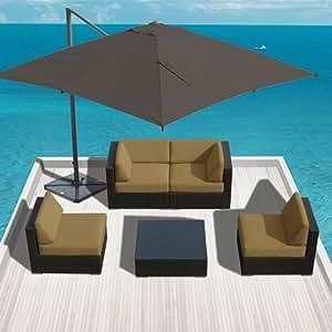 Sunbrella Fabric Outdoor Patio Furniture Wicker Modern Sofa Sectional Bella 5pc Set Dark Beige