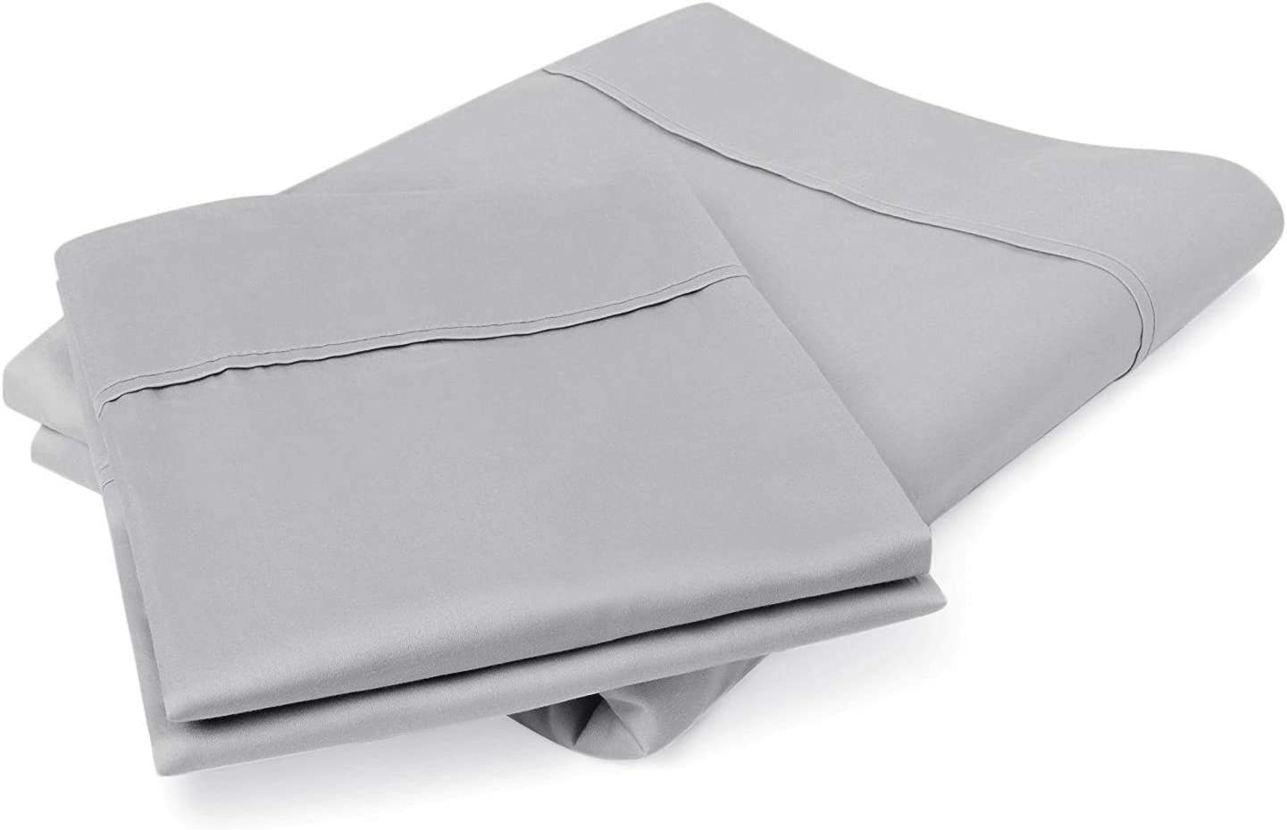 Bluemoon Homes Luxurious Hotel Style 100% Pure Egyptian Cotton 800 -Thread-Count Solid, 2-Piece Pillowcase Set - Single Ply Soft Sateen Weave Premium Yarns (2 PC Standard Pillowcases, Silver Grey)