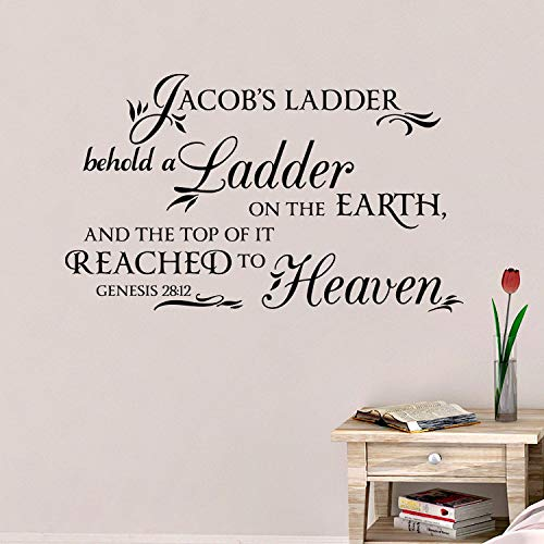 CELYCASY Genesis 28:12 - Jacobs Ladder, Behold a Ladder reached to Heaven, Wall Decal, Religious, Vinyl Wall Decal, Wall Words, GEN28V12-0001