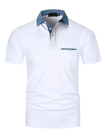 YIPIN Hombre Polo Manga Corta Collar de Mezclilla Básico Golf ...