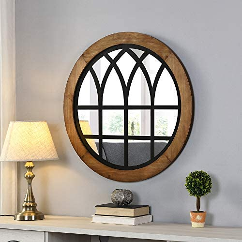FirsTime Co. Covington Farmhouse Black Arch Mirror, American Crafted, Rustic Brown, 30 x 1.1 x 30 ,