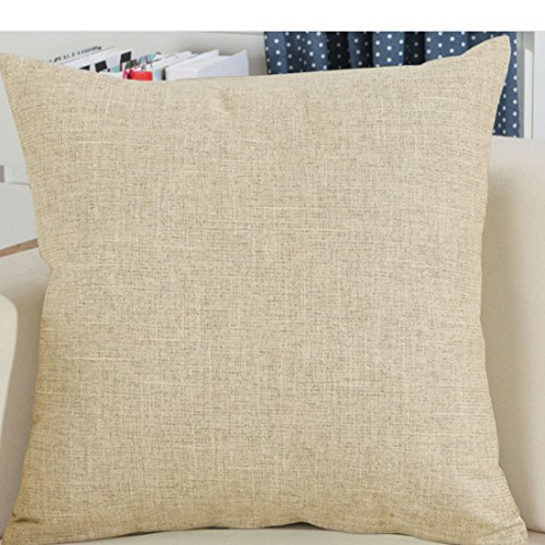 "Find-In-Find 22""x22"" Square Textured Linen Throw Pillows Sofa Cushion Covers,Light Coffee"
