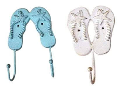 6515aeb9177e3 Image Unavailable. Image not available for. Color  Fancy That Blue White  Flip Flops Starfish ...
