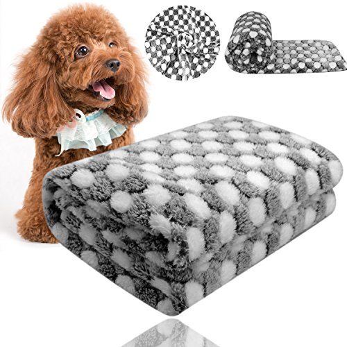 White Dog Blanket (Comsmart Puppy Blanket Warm Dog Cat Flannel Blankets Mat Bed Cover with Black and White Dot Soft Pet Blanket for Puppies Kitties and Other Small Animals)