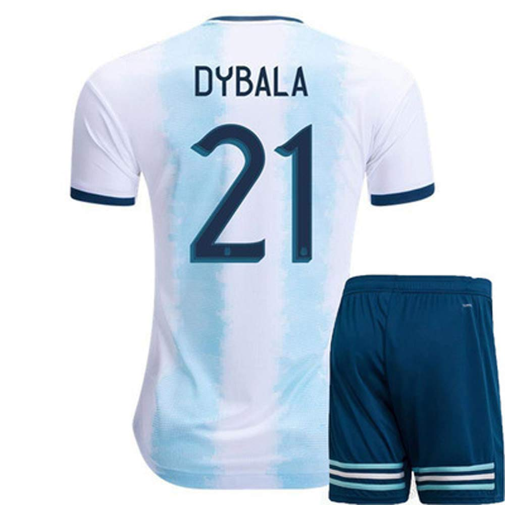 SDSPORT Copa Mundial Ni/ños /& Hombres Jersey /& Mujer F/útbol Mujer Desgaste Adulto 2019 Argentina NO.10 Messi NO.21 Dybala Camiseta Media Manga Shorts Set Blue Sportswear
