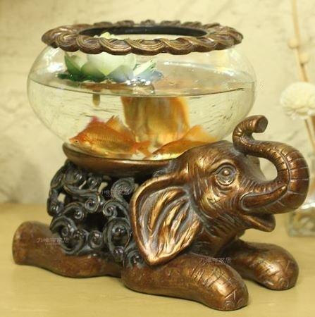 アジアン風 ゾウ モチーフ ガラスの 器 金魚鉢 フラワーベース (小サイズ) B00KHIO876 小サイズ 小サイズ