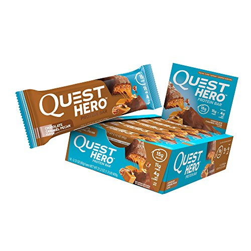 - Quest Nutrition Chocolate Caramel Pecan Hero Protein Bar, Low Carb, Gluten Free, Soy Free, 10 Count