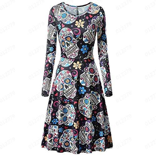 HomeMals Women's Halloween Long Sleeve Flare Cocktail Dress