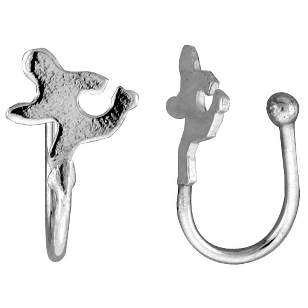 Small Sterling Silver Runner Nose Ring / Ear cuff Non-Pierced (one piece) 7/16 inch