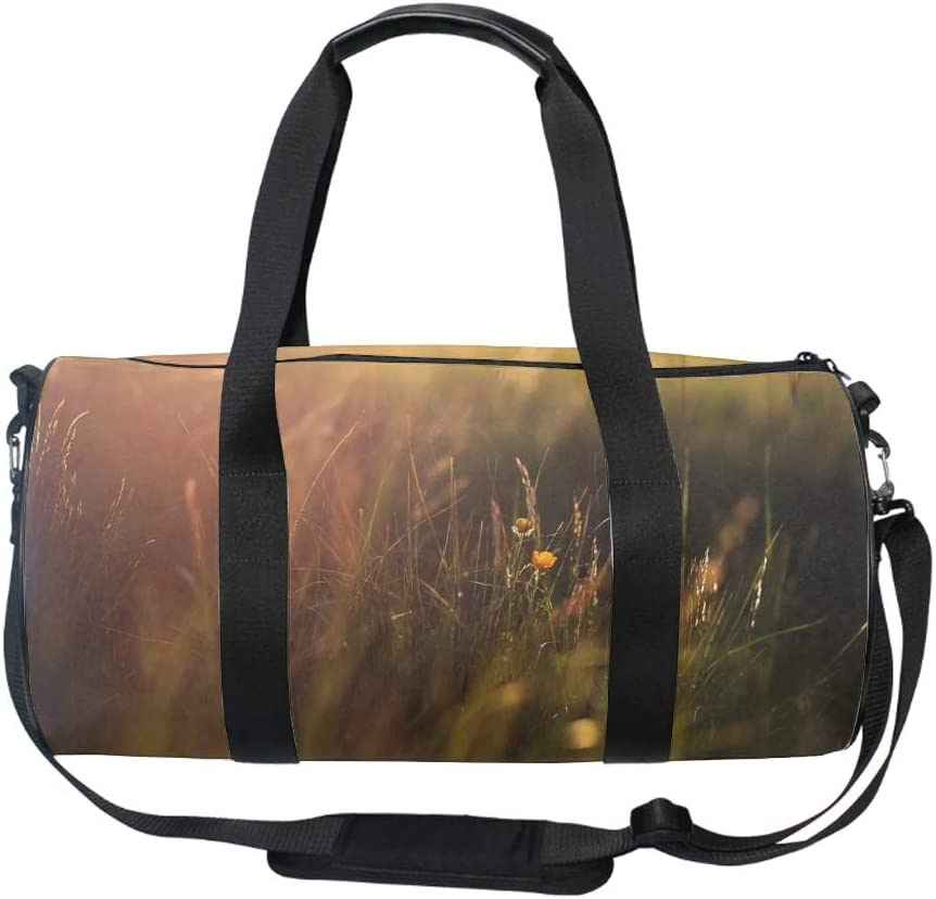 Yellow Grass Round Gym Duffle Bag Drum tote Fitness Travel Bag Rooftop Rack Bag