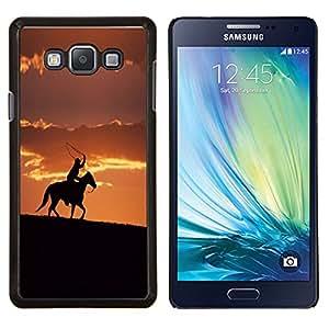 KLONGSHOP // Cubierta de piel con cierre a presión Shell trasero duro de goma Protección Caso - Sunset Horse Ride - Samsung Galaxy A7 A7000 //