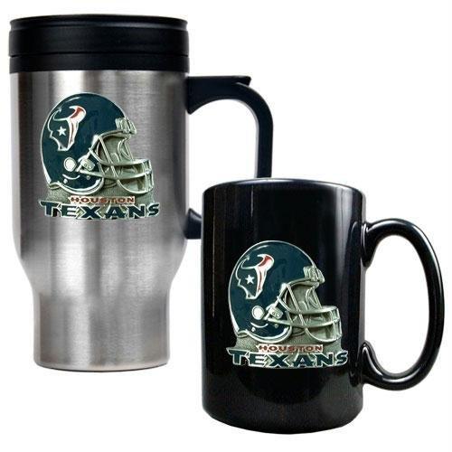 NFL Houston Texans Travel Mug & Ceramic Mug Set - Helmet Logo